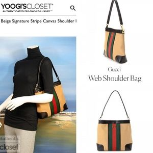 Gucci canvas and leather shoulder convertable bag